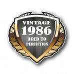 1986 Year Dated Vintage Shield Retro Vinyl Car Motorcycle Cafe Racer Helmet Car Sticker 100x90mm